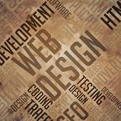 Web Design - Grunge Brown Wordcloud.