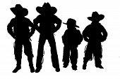 Silhouette Of Four Young Boys Wearing Cowboy Hats And Boots