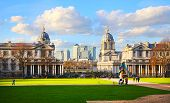 London, UK - FEB 02, 2014: Greenwich museums, Naval chapel and Painted Hall, and Canary Wharf