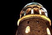 Galata Tower Night View In Istanbul