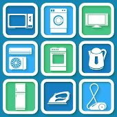 Set Of 9 Retro Icons Of Domestic Electric Appliances. Eps10