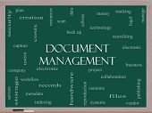 Document Management Word Cloud Concept On A Blackboard