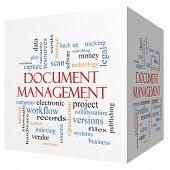 Document Management 3D Cube Word Cloud Concept
