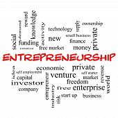 foto of entrepreneurship  - Entrepreneurship Word Cloud Concept in red caps with great terms such as economic private venture and more - JPG