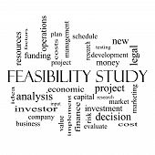 Feasibility Study Word Cloud Concept In Black And White