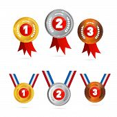 Vector Medals Sets - Gold, Silver, Bronze, First, Second, Third