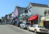 Lobster restaurants and souvenir shops in historic Bar Harbor, Maine