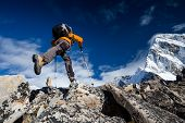 Hiker Jumps In Himalaya Mountains
