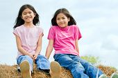 Two Young Girls Sitting On Top Of Haybale