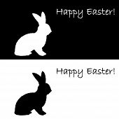 picture of uncolored  - Monochrome silhouette of an Easter bunny - JPG