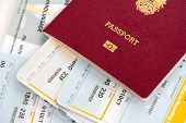 Passport and boarding cards