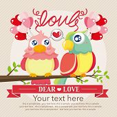 Vintage birds and love
