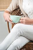 Woman with tea mug