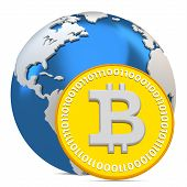 stock photo of bitcoin  - 3d bitcoin with earth globe global currency on white background - JPG