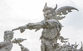 Giant Statue Decoration In Church Of Wat Rong Khun, Chiangrai  Thailand