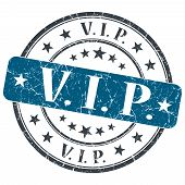 Vip Blue Grunge Round Stamp On White Background