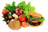 Grilled Mushrooms Burger, Ingredients And Seasonings.