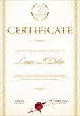Golden certificate template with laurel wreath vectror