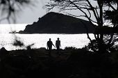 Man And Woman Silhouettes And Sea Shores