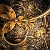 Dark Yellow And Gold Fractal Flower