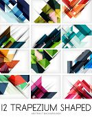 Collection of trapezium geometric shape backgrounds - 12 design templates. For business background |