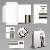 Stationery, Corporate Image Design with Striped Pattern