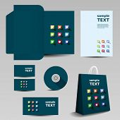 Stationery, Corporate Image Design with Abstract Icons Pattern