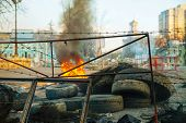 Burning Tires At The Barricade In Kiev