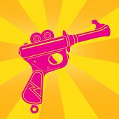 Vintage Tin Toy Space Gun Pop Illustration