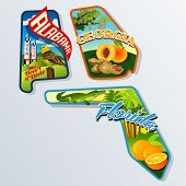 Retro travel stickers of United States Alabama, Florida, Georgia
