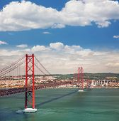 25th of April Suspension Bridge over the Tagus river in Lisbon, Portugal, Eutopean travel