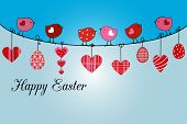 Little birds and easter basket with eggs