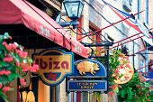 QUEBEC CITY, CANADA - SEP 10: Stores on street on September 10, 2012 in Quebec City, Canada. As the