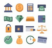 set of modern vector money and finance icons