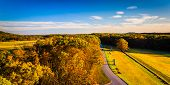 picture of battlefield  - Autumn view of battlefields from Longstreet Observation Tower in Gettysburg Pennsylvania - JPG