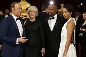 LOS ANGELES - MAR 2:  Kevin Spacey, Glenn Close, Jamie Foxx, Corinne Bishop at the 86th Academy Awar