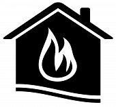 home icon with flame