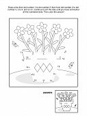 Dot-to-dot and coloring page - flower pot