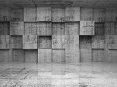 picture of cube  - Abstract empty concrete interior with decoration cubes on the wall - JPG