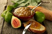 figs jam on wood  background