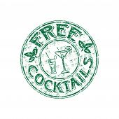 Free cocktails grunge rubber stamp