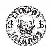 Jackpot grunge rubber stamp
