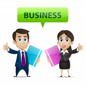 Businessman and business woman showing thumbs up