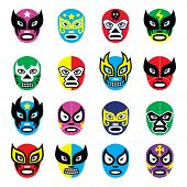image of pink eyes  - Vector icons set of masks worn during wrestling fights in Mexico isolated on white - JPG