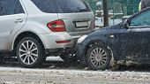 car crash collision accident on an city road in winter