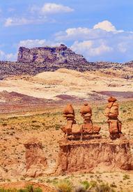 foto of goblin  - Three Sisters Hoodoos Goblin Valley State Park Rock Canyon Wild Horse Butte San Rafael Desert Utah USA Southwest - JPG