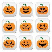 Halloween pumpkin vector buttons set