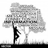 Vector concept or conceptual black contact tree and grass word cloud, a man jumping on white backgro