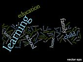 Vector eps concept or conceptual learning and education abstract word cloud on black background