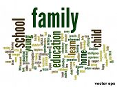 Vector eps concept or conceptual family abstract word cloud on white background